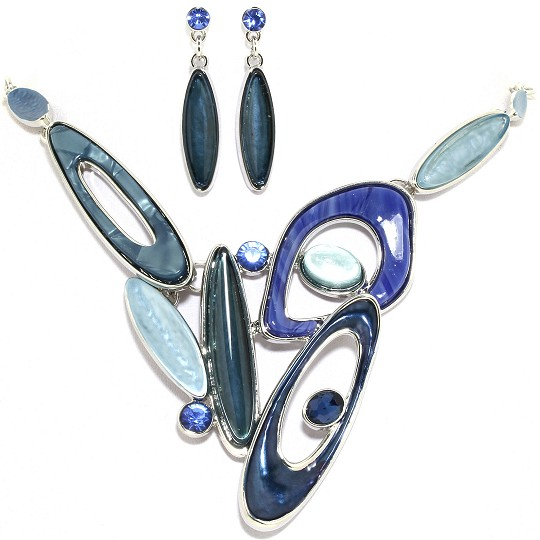 "19"" Necklace Earring Set Oval Shapes Silver Blue Teal FNE043"
