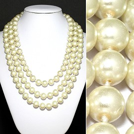 "Necklace 58"" Long Begie Glass Pearl FNE048"