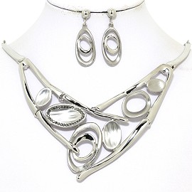 "17""-20"" Necklace Earring Set Oval Frost Silver Tone FNE051"