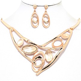 "17""-20"" Necklace Earring Set Oval Curved Copper Tone FNE053"