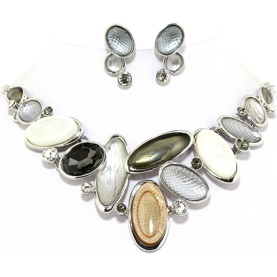 "19"" Necklace Earring Set Oval Gem Gray WT Silver Tone FNE057"
