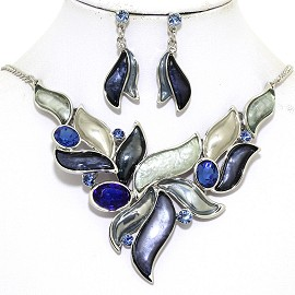 "16""-19"" Necklace Earring Set Leaf Point Gem Blue White FNE062"
