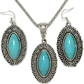 Thin Necklace Earrings Set Oval Turquoise FNE066