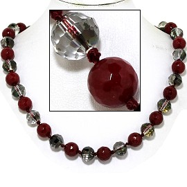 "20"" Necklace Crystal Ball Bead Magnetic Clasp Maroon WT FNE068"