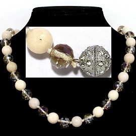 "20"" Necklace Crystal Ball Bead Magnetic Clasp Ivory Clear FNE070"