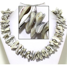 "21"" Necklace Nautical Shell Shards Ivory Gray White FNE071"