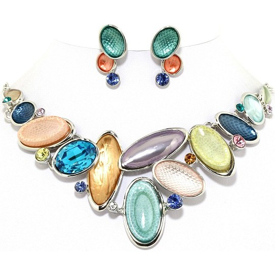 "19"" Necklace Earring Set Oval Gem Multi Color Silver Tone FNE072"