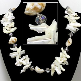 "21"" Necklace Nautical Shell Shards Crystal Stone Ivory Cl FNE073"