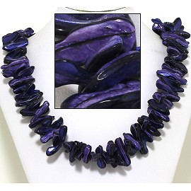 "21"" Necklace Nautical Shell Shards Dark Purple FNE074"