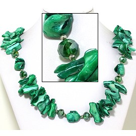 "21"" Necklace Nautical Shell Shards Crystal Stone Green FNE076"