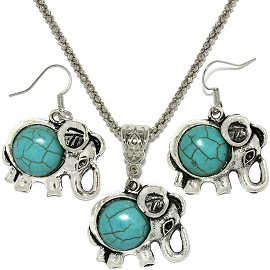 Thin Necklace Earrings Set Elephant Turquoise FNE077