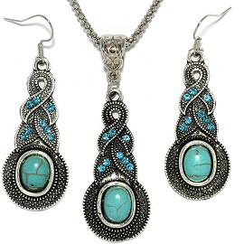 Thin Necklace Earrings Set Line Rhinestone Turquoise FNE078