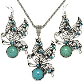 Thin Necklace Earrings Set Butterfly Rhinestone Turquoise FNE080