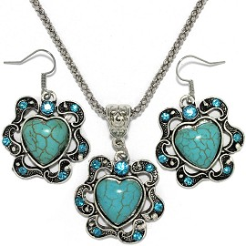Thin Necklace Earrings Set Heart Rhinestone Turquoise FNE081