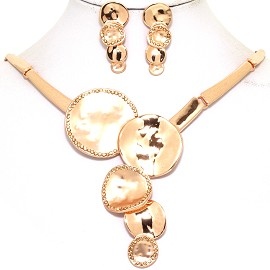 "16-19"" Necklace Earrings Set Circle Flower Gold Tone FNE082"