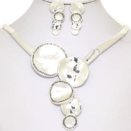 "16-19"" Necklace Earrings Set Circle Flower Silver Tone FNE083"