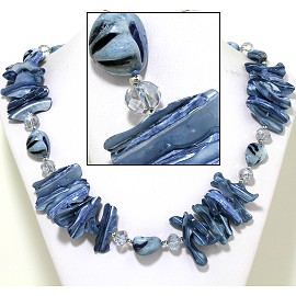 "21"" Necklace Nautical Shell Shards Crystal Stone LT Blue FNE085"