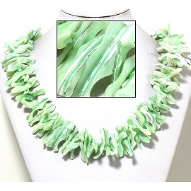 "21"" Necklace Nautical Shell Shards Light Baby Green FNE086"
