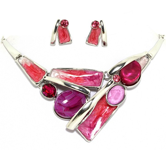 "19"" Necklace Earring Set Oval Rectangle Silver Magenta FNE090"