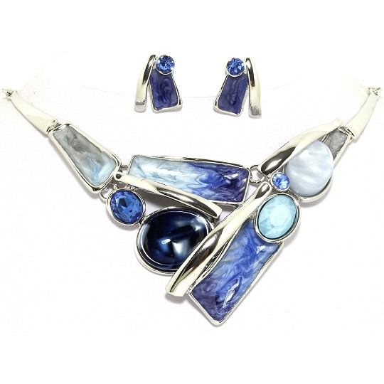 "19"" Necklace Earring Set Oval Rectangle Silver Blue Turqu FNE091"