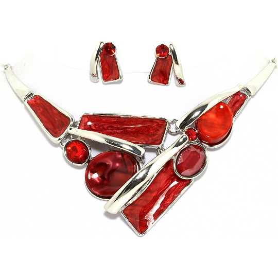 "19"" Necklace Earring Set Oval Rectangle Silver Red FNE092"