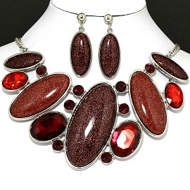 Necklace Earring Set Oval Sparkling Gems Brown FNE094