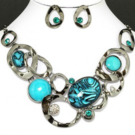 Necklace Earring Set Oval Circle Silver Turquoise FNE098