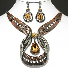 "20""Necklace Earring Set Teardrop Gold Brown FNE1002"