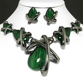 "20""Necklace Earring Set Green FNE1003"