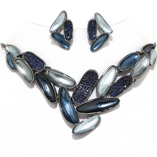 Necklace Earring Set Oval Rhinestones LT DK Blue FNE1007