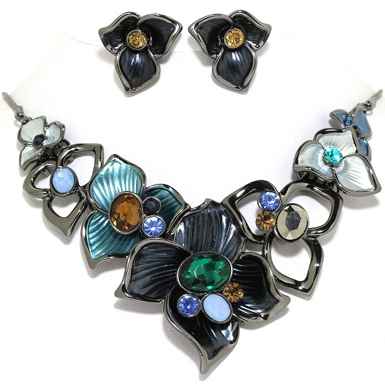 Necklace Earring Set Flower Gems Rhinestone Gray Blue Tu FNE1017