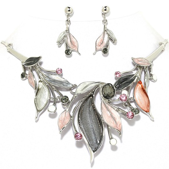 Necklace Earring Set Leaves Rhinestones Silver Gray Pink FNE1025