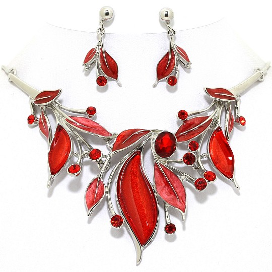 Necklace Earring Set Leaves Rhinestones Silver Red FNE1027