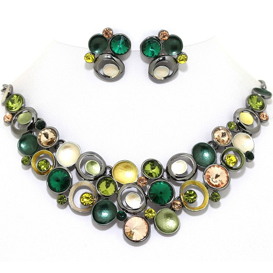 Necklace Earring Set Circles Gem Rhinestone DK Gray Gree FNE1033