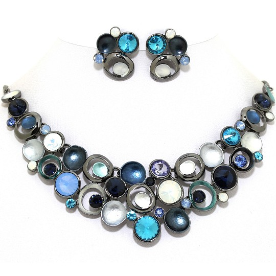 Necklace Earring Set Circles Gem Rhinestone DK Gray Blue FNE1035