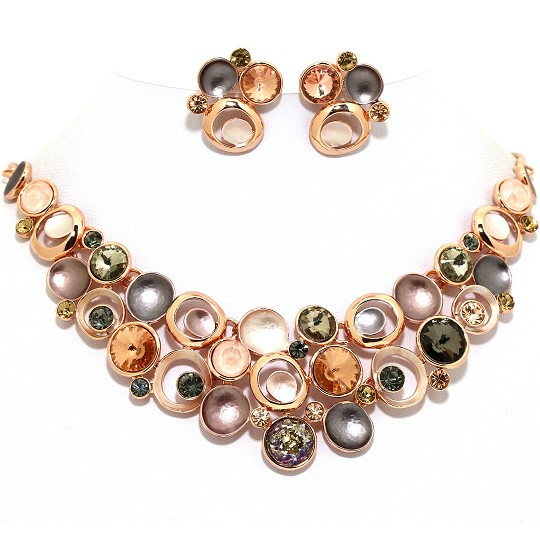 Necklace Earring Set Circles Gem Rhinestone Gold Tan FNE1036
