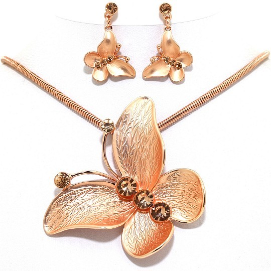 Necklace Earring Set Butterfly Pendant Rhinestone Gold T FNE1043