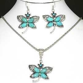 Turquoise Necklace Earring Drgonfly FNE1055