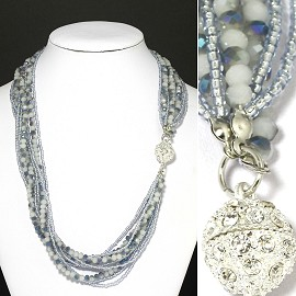 Bead Crystal Necklace Rhinestone Magnetic Clasp Gray Wh FNE1058