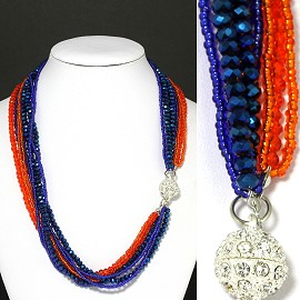Bead Crystal Necklace Rhinestone Magnetic Clasp orange B FNE1062