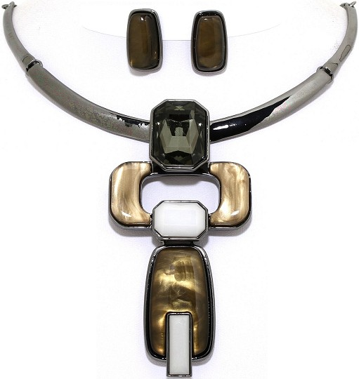 Necklace Earring Set Rectangle Gems Dark Gray Brown FNE1076