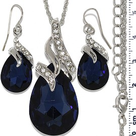 Necklace Earring Set Chain Tear Crystal Gem Silver Dk Bl FNE1100