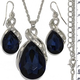 Necklace Earring Set Chain Tear Crystal Gem Silver Dk Bl FNE1101