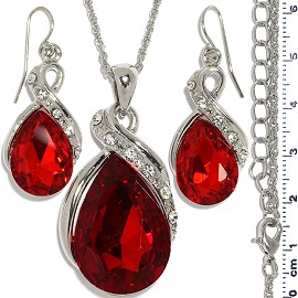 Necklace Earring Set Chain Tear Crystal Gem Silver Red FNE1102
