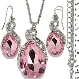 Necklace Earring Set Chain Tear Crystal Gem Silver Pink FNE1103