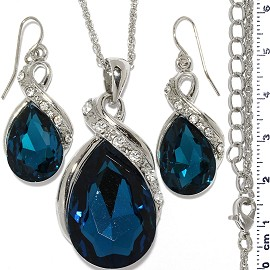 Necklace Earring Set Chain Tear Crystal Gem Silver Dk Te FNE1104
