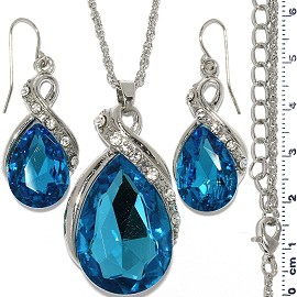Necklace Earring Set Chain Tear Crystal Gem Silver Turq FNE11005