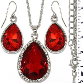 Necklace Earring Set Chain Tear Crystal Gem Silver Red FNE1108