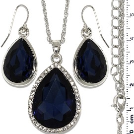 Necklace Earring Set Chain Tear Crystal Gem Silver Dk Bl FNE1109