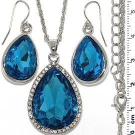 Necklace Earring Set Chain Tear Crystal Gem Silver Turqu FNE1101